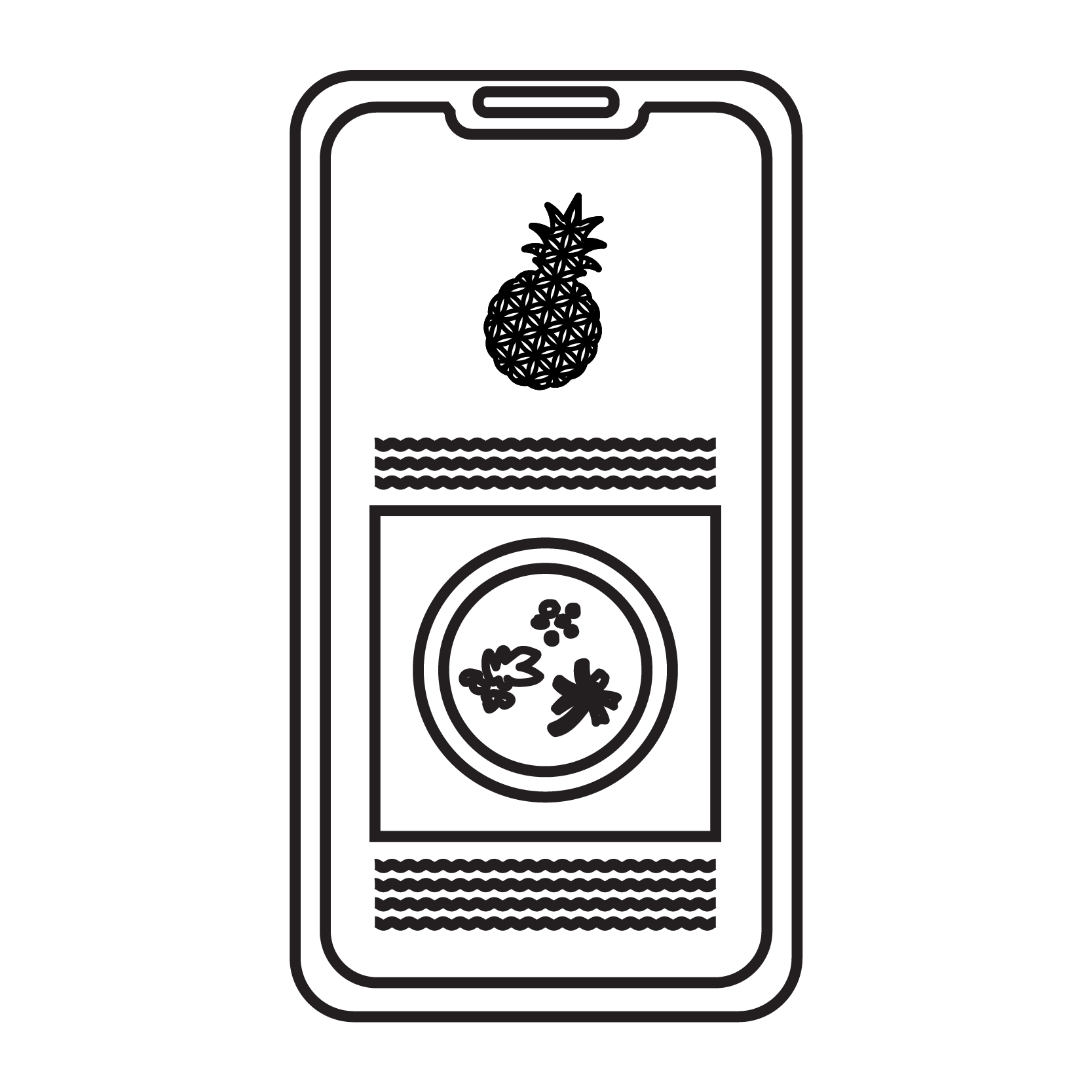 An Eat Fresh Chef Inc. graphic of a mobile phone with our logo and a recipe on the screen symbolizing our Health & Nutritional Services.